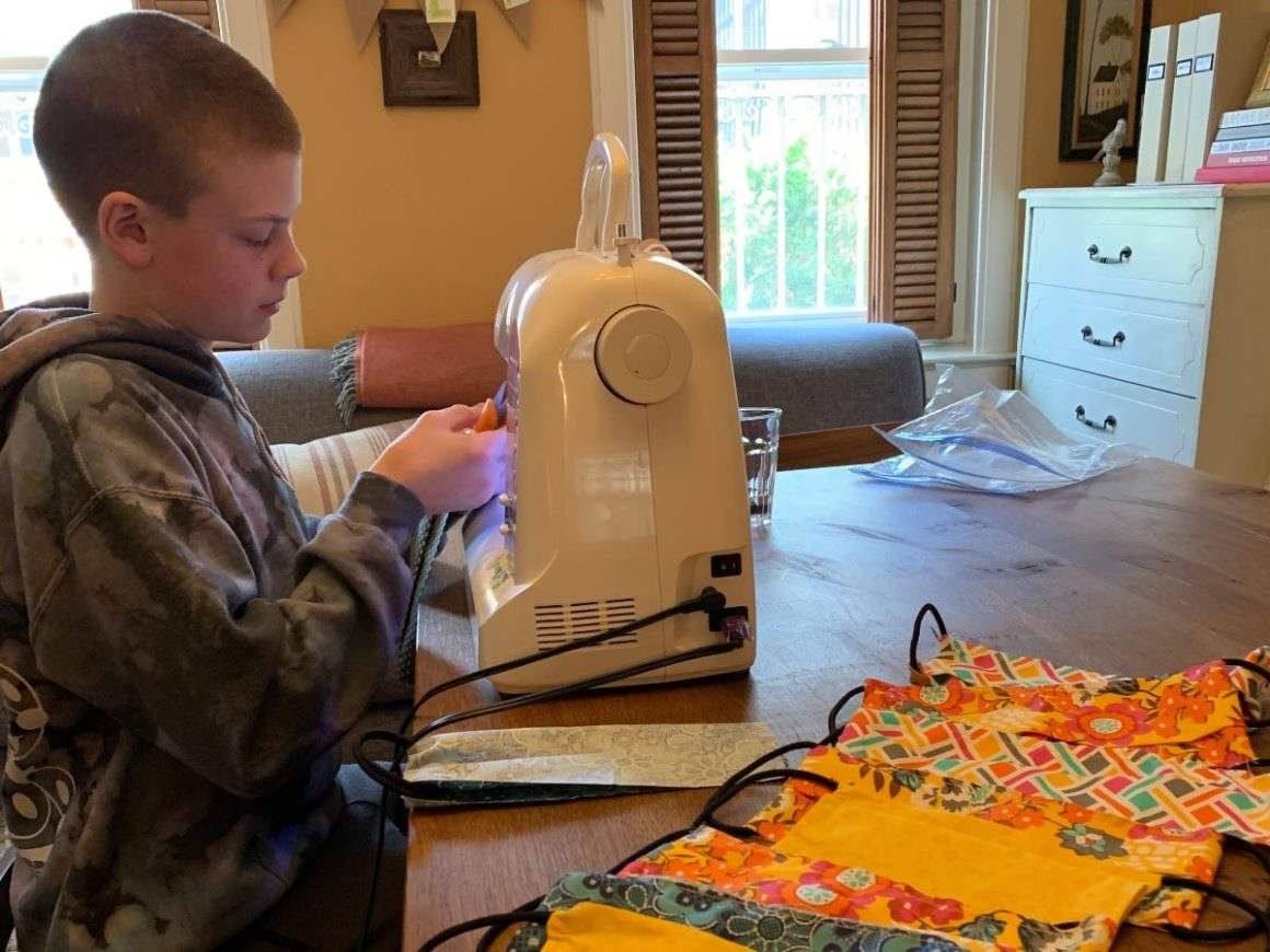 Student Sews Masks for Kids